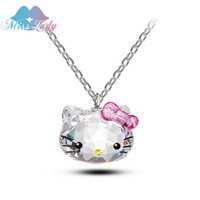 Miss Lady Silver Plated Korea KT Crystal Cute hello kitty bow Cat Necklaces  Pendants Fashion Jewelry for women Q2017227