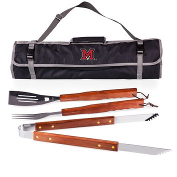 Miami Redhawks 3-Pc BBQ Tote & Tools Set-Black Digital Print
