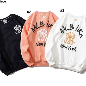 NY fashion couple print hoodies are hot with a velvet crew collar