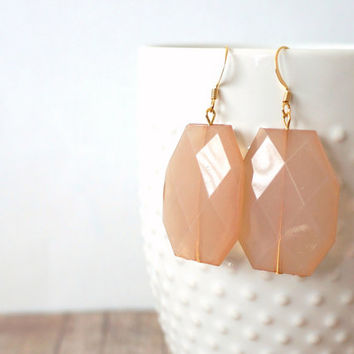 C H A M P A G N E - Light Champagne Beige, Acrylic Faceted Chunky Statement Bead, Gold Plated Dangle Earrings