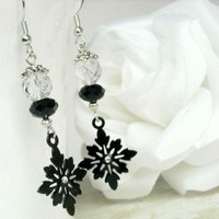 Snowflake Dangle Earrings with Tourmalinated Quartz & Black Crystal | epicetera - Jewelry on ArtFire