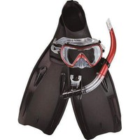 Black  Burgundy and Clear Zray Teen/Young Adult Pro Scuba or Snorkeling Swimming Pool Set - Medium