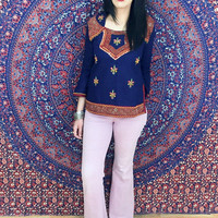 Vintage 70s Indian Embroidered Mirrored Long Sleeve Tunic Top S // M