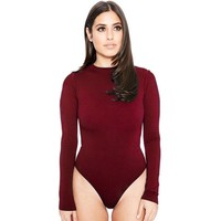 Wendywu Fashionable Sexy Women Long Sleeve Stretch Leotard Wine Red Bodycon Bodysuit