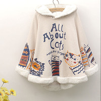 Japanese cute cat cape coat