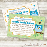 Little Boys are a Hoot, Owl Baby Boy Shower DIY Bring a Book instead of a Card Inserts
