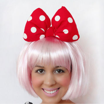 Red MINNIE MOUSE BOW White Polka Dot Hello Kitty Big Poofy Hair Headband Disney Birthday Wedding Lolita Kawaii Inspired Women Teens Girls
