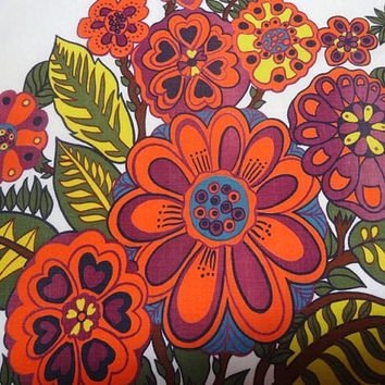 1970s Vintage Sears Flower Power Rod Pocket Curtains, 2 Panels 41 x 35 In., Valance, Bright Orange Flowers, Vintage Fabric, 1970s Home Decor