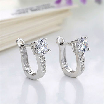U Type Earrings For Women Girl Party Wedding Fine Jewerly Beautiful Silver Color Jewelry SM6