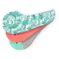 Empyre 3 Pack Holly Palm Print No Show Socks