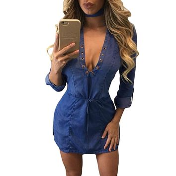 Deep V Neck Lace up Long Sleeves Denim Dress