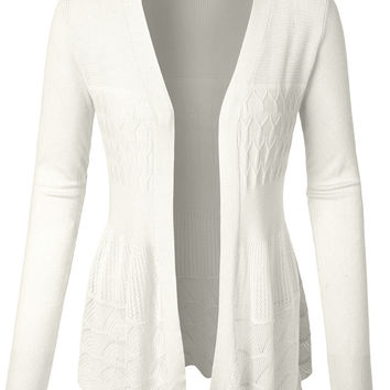 LE3NO Womens Cut Out Crochet Scalloped Hem Open Knitted Cardigan