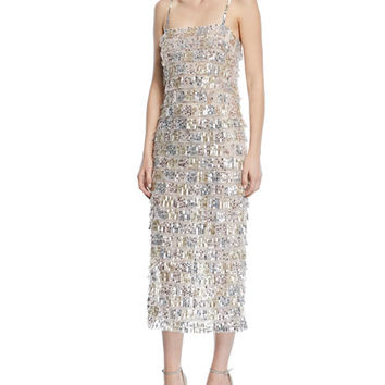 Monique Lhuillier Sequined Tier-Fringe Midi Cocktail Dress