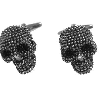 Black and Silver Toned Textured Skull Head Cufflinks