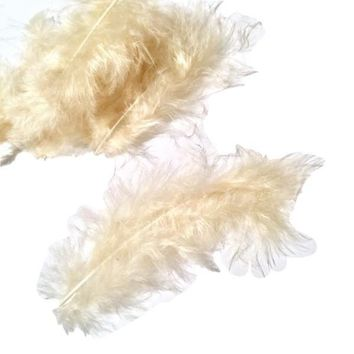 Cream turkey marabou feathers - 5 pieces