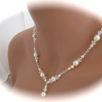 Bridal Jewelry Set Wedding Pearl Necklace and Earrings Wedding Jewelry