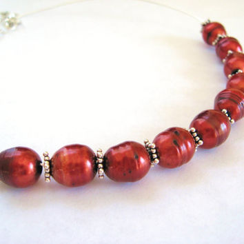 Rust Red Freshwater Pearl and Sterling Silver Choker