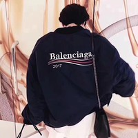 """Balenciaga"" Women Fashion Wave Stripe Letter Embroidery Long Sleeve Zip Cardigan Cotton-padded Clothes Jacket Coat"