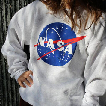 Women NASA Letter Printed Sweatershirt Pullover Hoodies Round Collar Long Sleeve Female Clothing Autumn Spring Sweatshirt