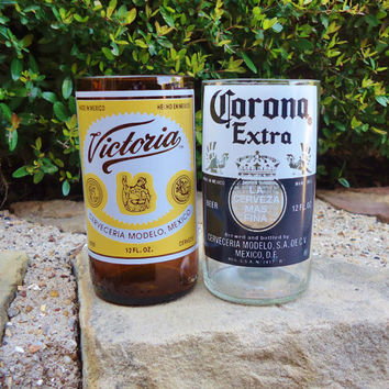 Mexican Beer Bottle Glasses Sampler Pack of 2 made from Upcycled Corona & Victoria Beer Bottles
