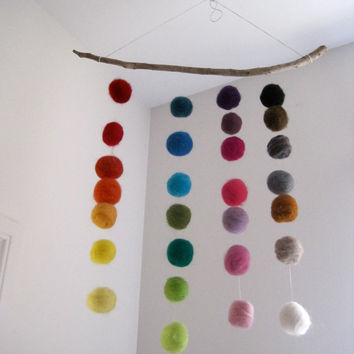 BABY MOBILE - giant felted rainbow balls wool nursery room home decor / Waldorf decoration handmade by SewnNatural