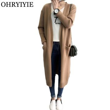 OHRYIYIE Long Women Sweater Cardigan 2018 Autumn Winter Casual Loose Knitted Cardigans Female Outerwear Coat Crochet Sweaters