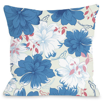 """Windswept Flowers"" Indoor Throw Pillow by OneBellaCasa, Blue, 16""x16"""