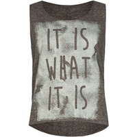 Full Tilt It Is What It Is Girls Tank Grey  In Sizes