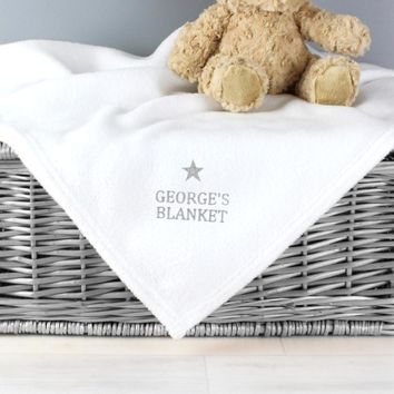 Personalized Silver Star White Baby Blanket