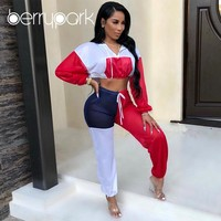 BerryPark 2019 Autumn Patchwork Tracksuit Women Sport Set Running Suit Gym Two Piece Sets Short Hoodies + Pants Fitness Outfit