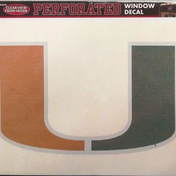 Miami Hurricanes SD Large Perforated One-Way Window Film Decal University of