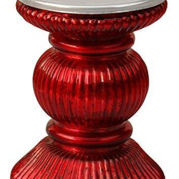 Handmade Glass Pillar Candle Holder With Ribbed Design, Red By Benzara