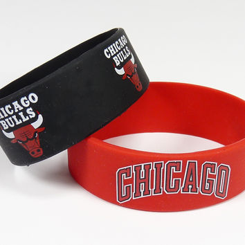 Chicago Bulls Bracelets - 2 Pack Wide