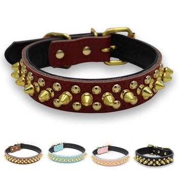 Hot Purchase Chain Dog Supplies Adjustable Harness Spiked Studded Genuine Leather Dog Collar Rivet Receiver Collar Round Nail Dog