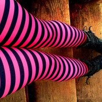 ragdoll pink and black stripe Leggings pants lycra
