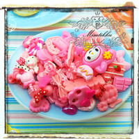 25 PCS Mix Cabochon Set Diy Deco Kit Polymer clay Rose Cabochon Assorted Ribbon Flat Back Sweets Food Deco Craft Supply (Pink Serious) AK.PK