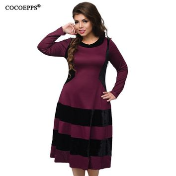 5XL 6XL Big Size Autumn Winter Dresses Fashion Striped Patchwork Dress 2017 Plus Size Women Clothes loose Evening Party Vestidos