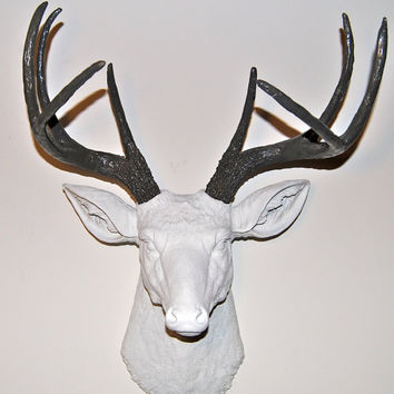 Faux Deer Head Wall Mount - White and Gray Antlers - Deer Head Antlers Faux Taxidermy Wall Mount