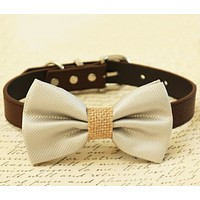 Gray Burlap Dog Bow tie attached to collar, Country Rustic wedding