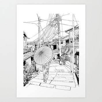 Kyoto - the old city Art Print by parisian samurai studio