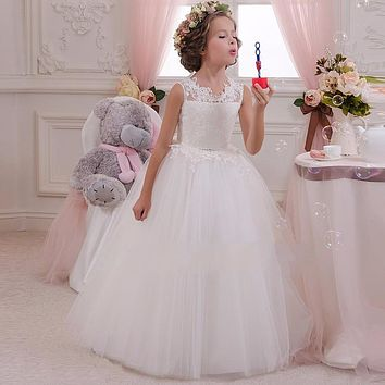 Retail High Quality Embroidery Flower Neck Elegant Girls Wedding Dress With Bow Fashionable Girls Party Long Gown Dress LP-63