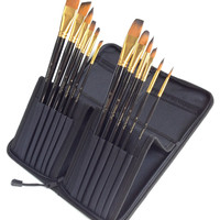 12 Piece Art Brush Set for Oil & Acrylics - Now Includes FREE 5 Piece Painting Knife Set