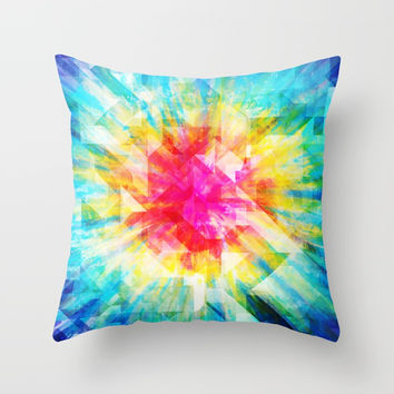 GEOMETRIC TIE DYE (Rainbow, Multi color) Throw Pillow by AEJ Design