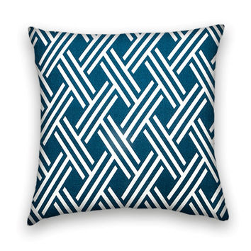 Geometric Decorative Pillow Cover- 20 x 20 Slubby Cotton Throw Pillow- Dark Blue and White.