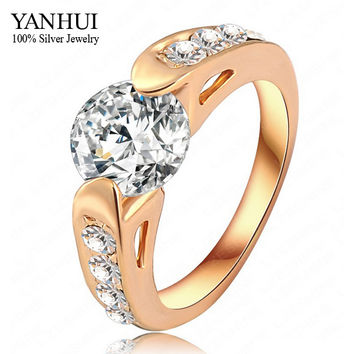 YANHUI Brand Real 18K Gold Filled Hearts and Arrows 2 Carat CZ Diamond Wedding Rings For Women RING SIZE 6 7 8 9 10 YR069