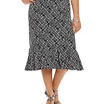 Allison Daley Plus Sketch Square-Print Pull-On Midi Flounce Skirt - Sk