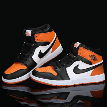 Nike Air Jordan Retro 1 High Tops Contrast Sports shoes Orange Black hook G-CSXY