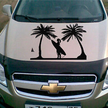 Car Hood Vinyl Decal Graphics Stickers Art Mural Girl Surfer on the Beach KJ423