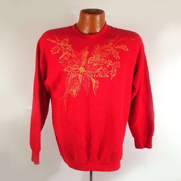 Ugly Christmas Sweater Vintage Sweatshirt Ho Made Puffy Paint Poinsettias