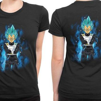DCCKL83 Son Goku Vegeta Super Saiyan Blue 2 Sided Womens T Shirt